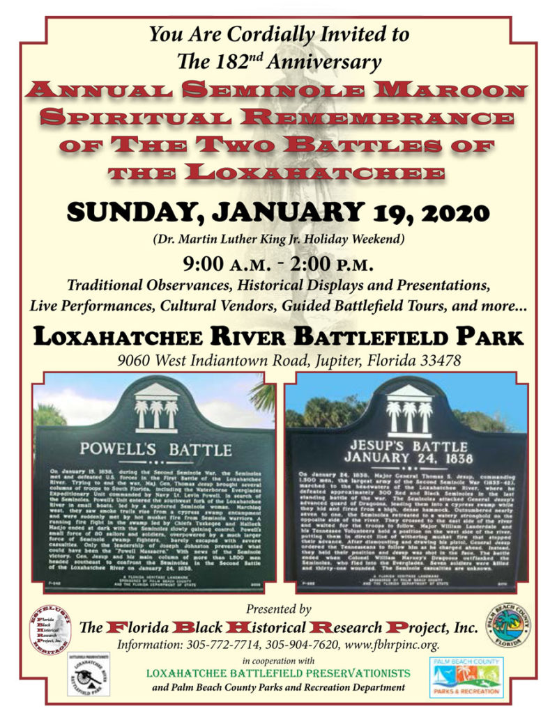 You are cordially invited to the 182nd Anniversary of the Annual Seminole Maroon Spiritual Remembrance
